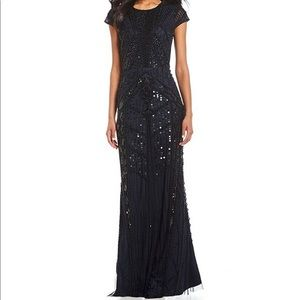 Adrianna Papell beaded short sleeve gown.